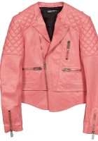 Pink Leather Biker Jacket