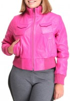 Pink Leather Jacket Plus Size