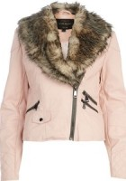 Pink Leather Jacket with Fur