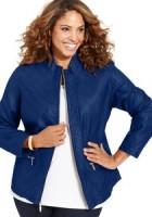 Plus Size Blue Leather Jacket
