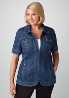 Plus Size Short Sleeve Denim Jacket