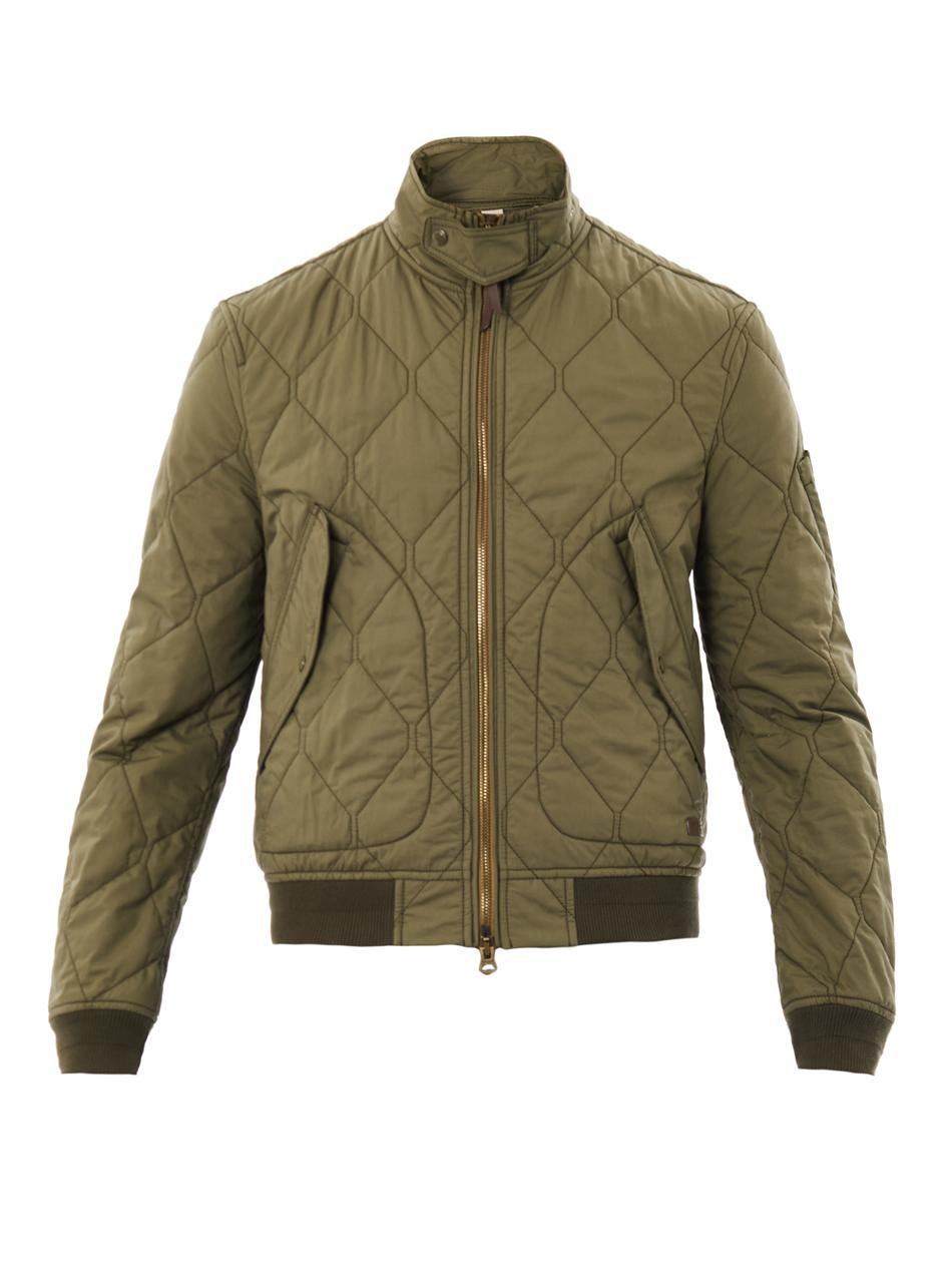 Quilted Bomber Jacket Green Jackets