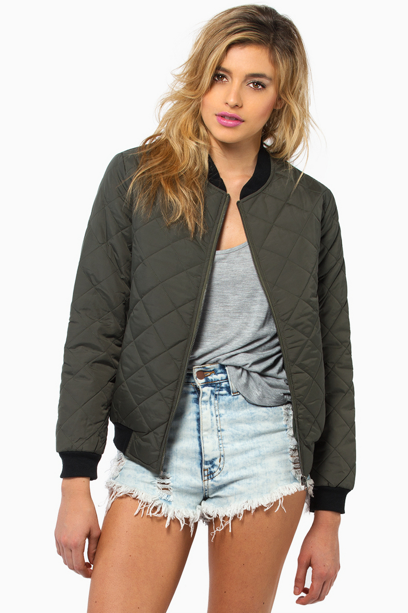 Quilted Bomber Jacket Womens Jackets