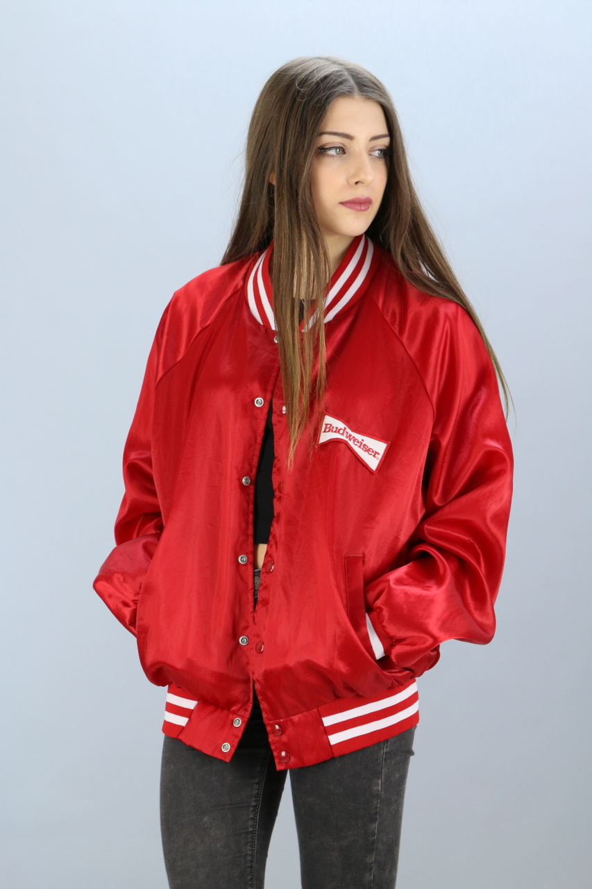 Womens Red Bomber Jacket - JacketIn