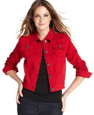 Red Denim Jean Jacket | Outdoor Jacket