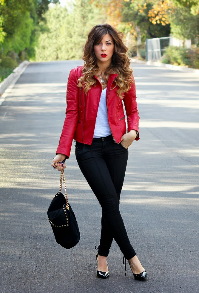 Red Leather Jacket Outfit Ideas