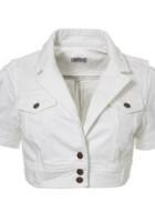 Short Sleeve White Denim Jacket
