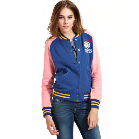 Up for sale is a girl's years varsity jacket from H&M new with tags. This jacket is pink with white sleeves, 2 pockets, a butterfly print and snaps on the front. On the back it says all is love in.