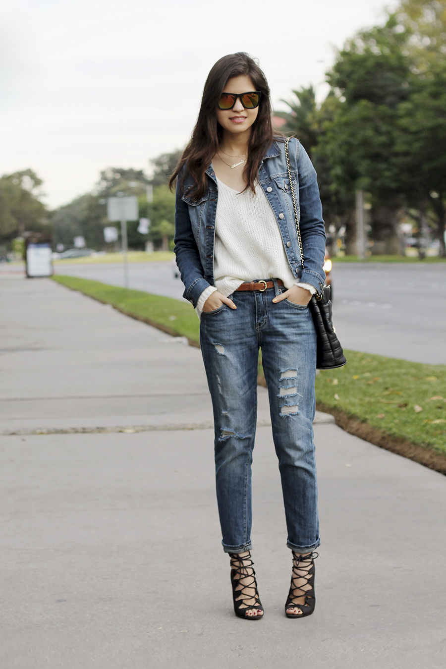 Denim Jeans With Denim Jacket - Coat Nj