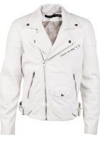 White Leather Jacket Men