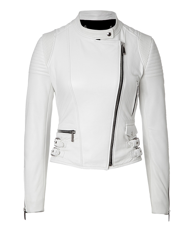 Womens White Leather Jacket Coat Nj