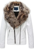 White Leather Jacket with Fur