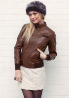 Women Leather Bomber Jacket