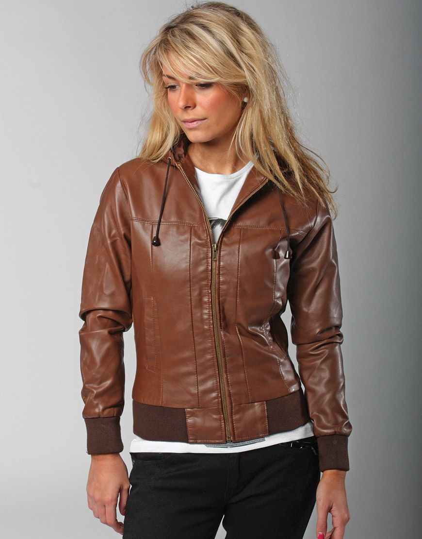 Women's brown bomber jacket with hood – Jackets photo blog