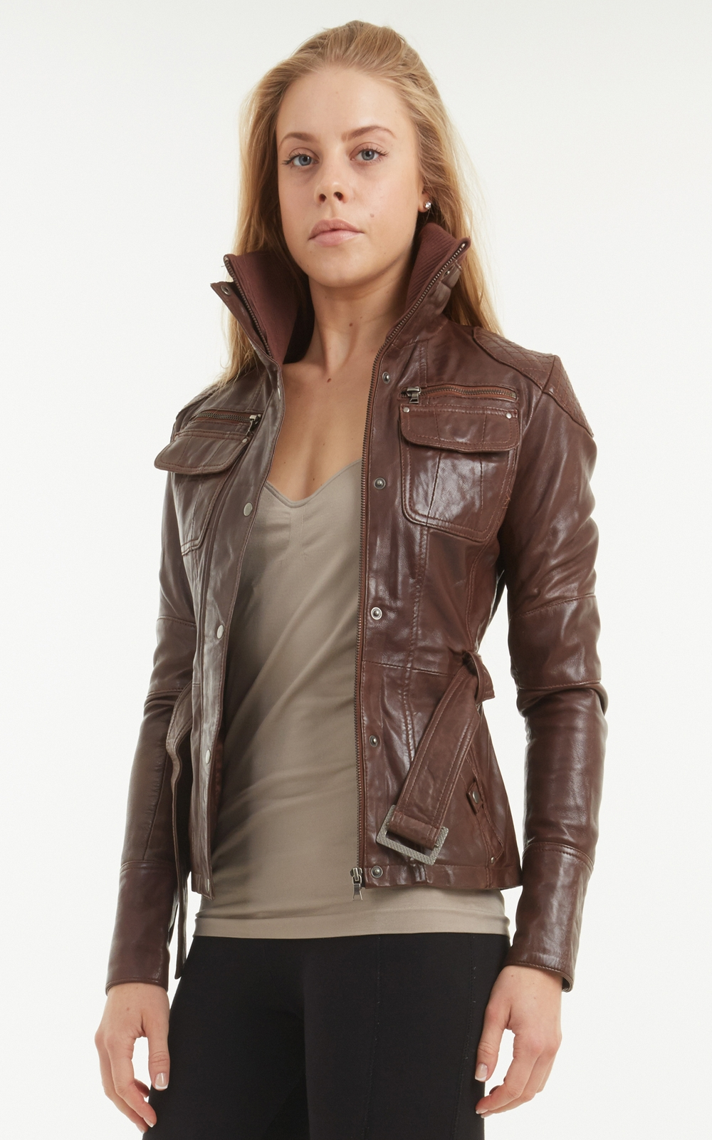 Women's brown leather biker jacket – Modern fashion jacket photo blog