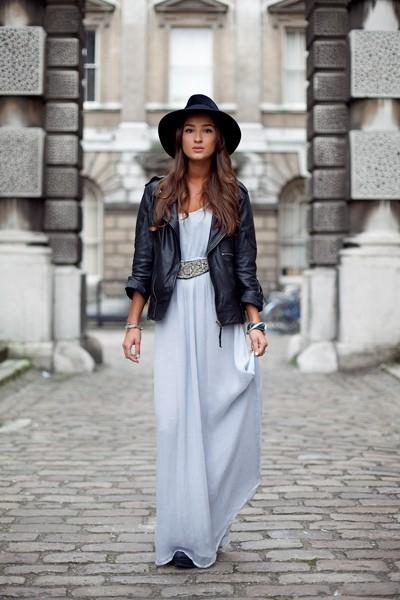 إطلالات مختلفة تجمع الفستان مع الجاكيت - الفستان مع الجاكيت الجلد